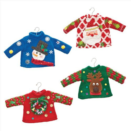 Ugly Sweater Knit Ornaments - Set of 4 Assorted