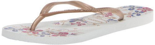 Women's Slim Season Flip Flop, White/Rose Gold Size 39-40