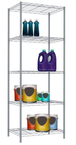 Home Basics 5-TIER WIRE SHELVING Grey/steel