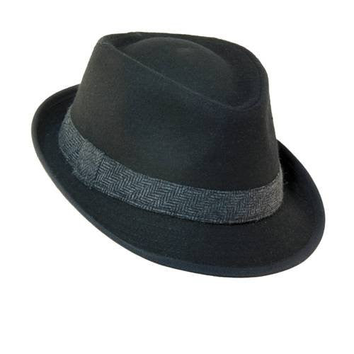 Dorfman Pacific Mens Wool Blend Fedora Hat with Herringbone Band (Black / XX-Large / 24 3/8-24 3/4 Inches)