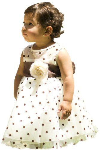 Lovely Organza Polkadot Dress with Sheer Illusion Neckline - Ivory/Brown, Large