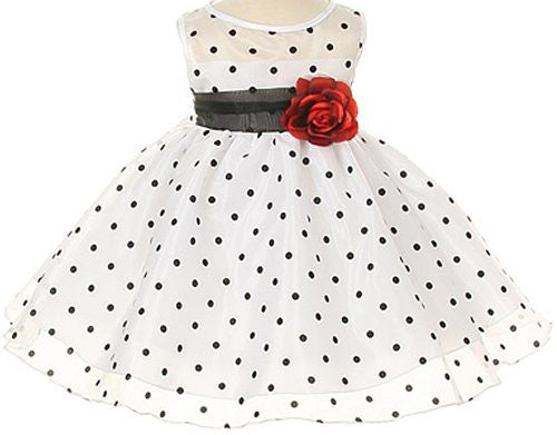 Lovely Organza Polkadot Dress with Sheer Illusion Neckline - White/Black, Large
