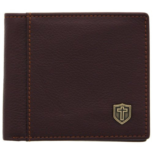 Burgundy Genuine Leather Wallet w/Cross Shield