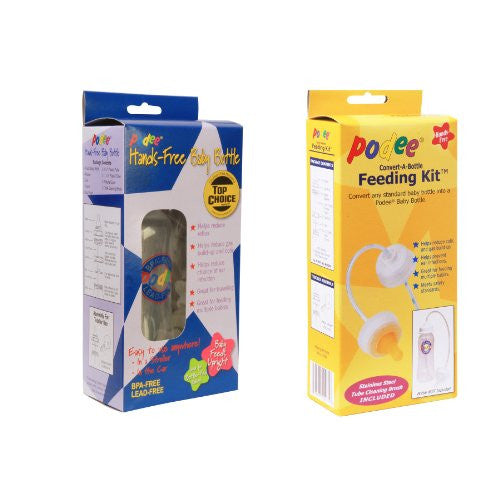Baby bottle and handsfree feeding kit