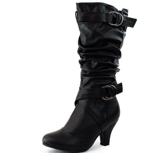 Women's Mid Calf Buckle Strap Pu Leather Comfortable Kitten Heel Knee High Boots Fashion Shoes,Auto-2v2.0 Black Pu 5