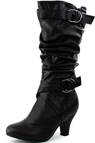 Women's Mid Calf Buckle Strap Pu Leather Comfortable Kitten Heel Knee High Boots Fashion Shoes,6 B(M) US,Black PU (Mid-Knee) by Shoes19