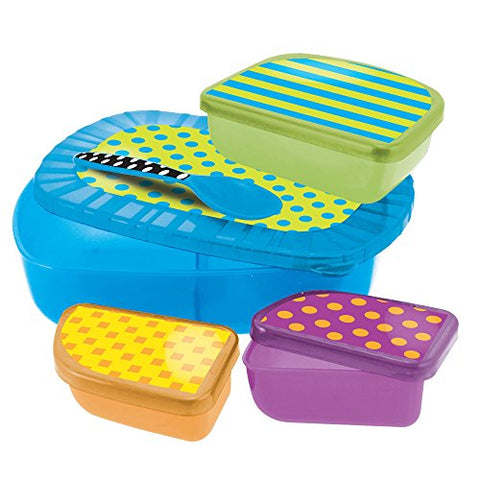 Sassy On The Go 9 Pc. Dish, Lids, and Spoon Feeding Set-Blue/Green-9+M