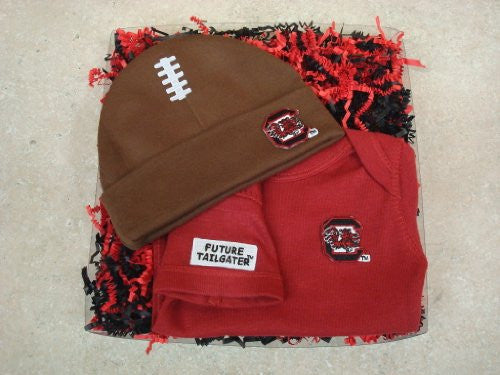 South Carolina Gamecocks Football Hat And Onesie Baby Gift Set (NB - 3 Months, School Color)