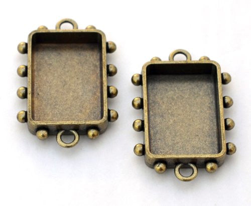 Hobnail Rectangle Bezel, Small, Antique Brass, 2 pc