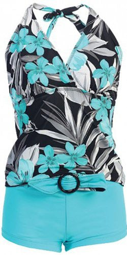 Marina West Women's Halter Tankini & Shorts Swimsuit Set (2 Piece) (Mint Lanai / Large)