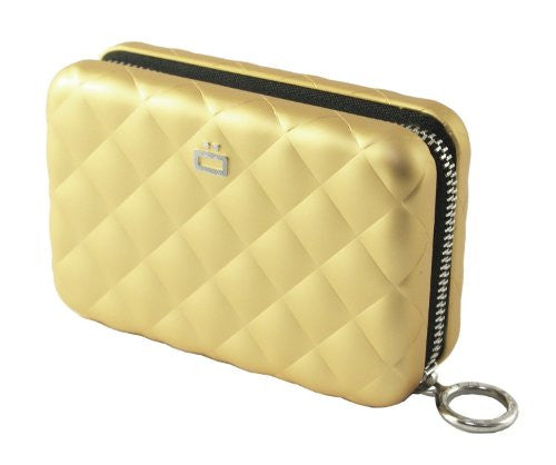 Quilted Zipper Card Case - Gold