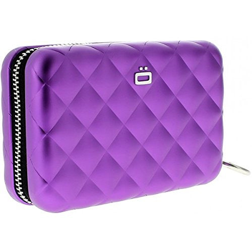 Quilted Zipper Card Case - Purple