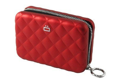 Quilted Zipper Card Case - Red