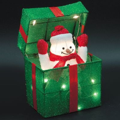 "12"" ANIMATED SNOWMAN GIFT BOX 3D GLISTENING FABRIC SCULPTURE 20 UL LIGHTS - 4 PC GROUND STAKES - SIZE: 11""W x 7.87""D x 12""H - WHITE BOX/COLOR LABEL"