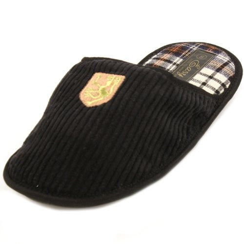 Wholesale Men's Corduroy House Slippers - Black, Large