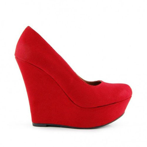 Delicious MEROZ High Platform Round Toe Wedge Shoe,7.5 B(M) US,Red