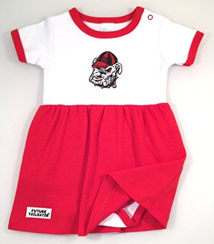 Georgia Bulldogs Baby Onesie Dress (NB - 3 Months, Color Trim)