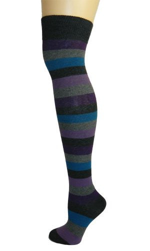 Over - The - Knee Socks - Peacock Stripe