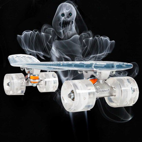 "Ghost - 22"" Complete - Clear Deck - White Wheels"