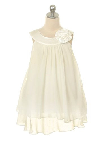 High-Multi Chiffon A-Line Dress with Satin Bib Neckline - Ivory, Size 2