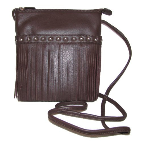 Cowhide crossbody fringe bag - Brown