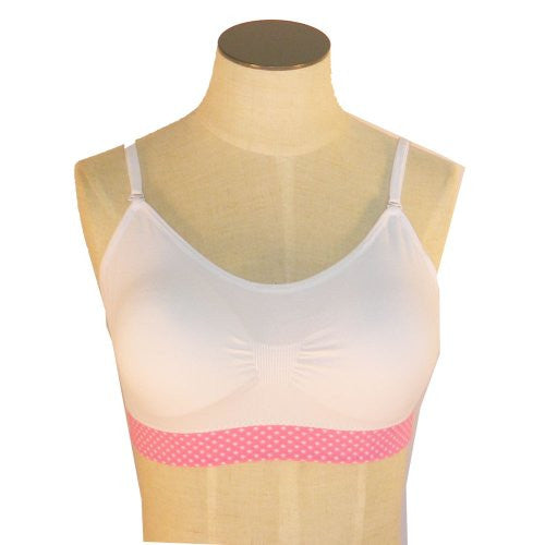 Coobie Women's Strappy Scoopneck Bra (White/Pink PD Band / One Size)