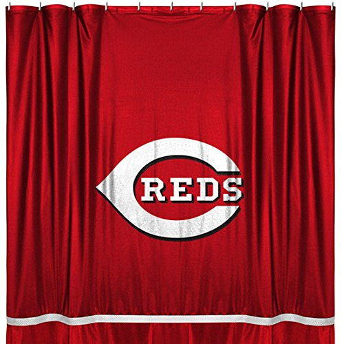 SIDELINES SHOWER CURTAIN Cincinnati Reds - Color Bright Red - Size 72x72