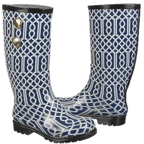 Nomad Women's Puddles Rain Boot, Navy Trellis, 6