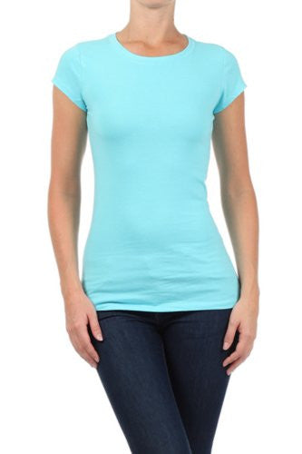 In Style, Basic solid round neck tee, Aqua, Medium