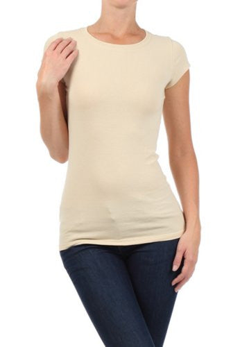 Women's Basic Solid Round Neck Tee by BLVD Taupe Small
