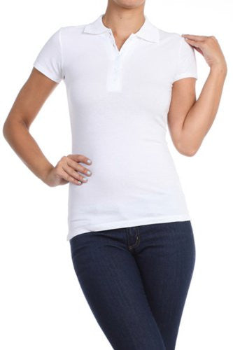 Women's Basic Solid Polo T-Shirt by BLVD White Large