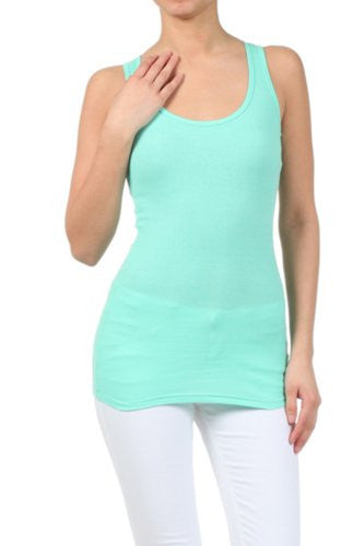 Women's Basic Athletic Racerback Tank Top by BLVD Mint Large