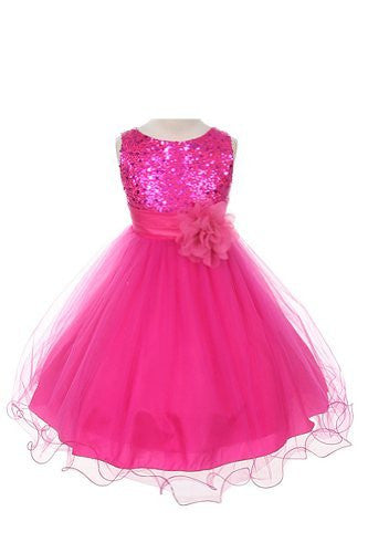 Stunning Sequined Bodice with Double Layered Mesh - Fuchsia, Size 14