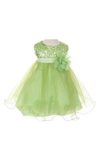 Stunning Sequined Bodice with Double Layered Mesh - Green, Medium