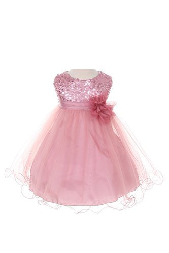 Stunning Sequined Bodice with Double Layered Mesh - Rose, Small