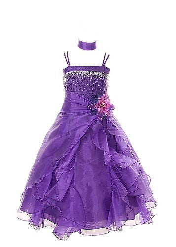 Cinderella Couture Girls Cascading Crystal Organza Rhinestone Party Dress - Purple