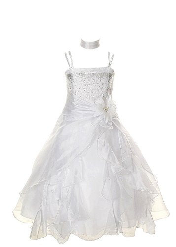 Cinderella Couture Girls Cascading Crystal Organza Rhinestone Party Dress - White