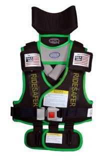 Ride Safer3 Travel Vest (Small, Black With Green Trim)