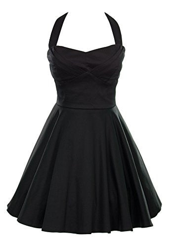 Ixia Retro Pinup Solid Vintage Aline Dress Junior Cut - Black-Large