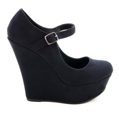 My Delicious Shoes Kayla-S Faux-Suede Mary Jane Platform Wedges, Black US 7.5