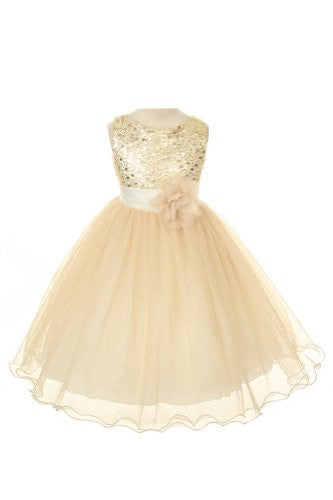 Sequin Bodice Tulle Special Occasion Holiday Flower Girl Dress - Gold 7-8