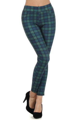 Yelete High-Waist Plaid Skinny Pants with Elastic Banded Waist - Green L