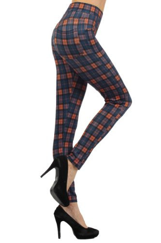Yelete High-Waist Plaid Skinny Pants with Elastic Banded Waist - Orange/Blue S
