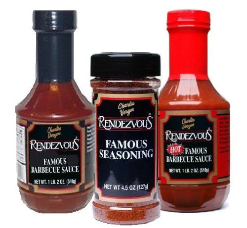 Rendezvous Sampler Bundle ( Mild BBQ Sauce, Hot BBQ Sauce, Seasoning Rub)