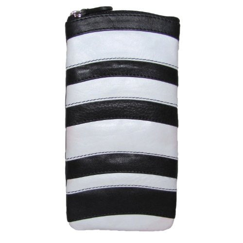 Stripe Eyeglass Case with Zip Pocket - Black/White