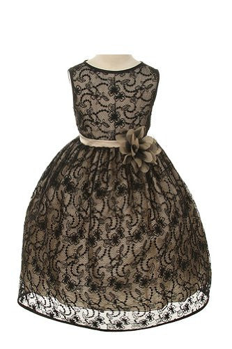 Elegant Tea Length Dress with Top Quality Lace Fabric - Black/Champagne, Size 12