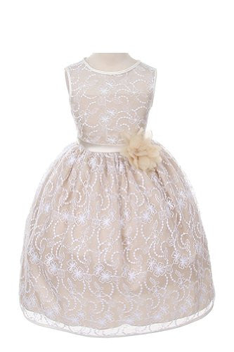 Elegant Tea Length Dress with Top Quality Lace Fabric - White/Champagne, Size 4