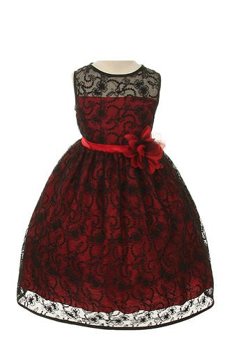 Elegant Tea Length Dress with Top Quality Lace Fabric - Red, Size 4