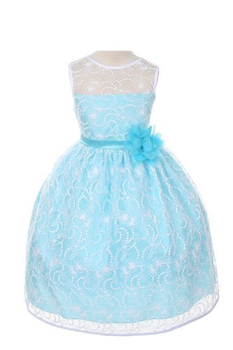 Elegant Tea Length Dress with Top Quality Lace Fabric - Aqua, Size 6
