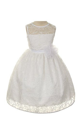 Elegant Tea Length Dress with Top Quality Lace Fabric - White, Size 12